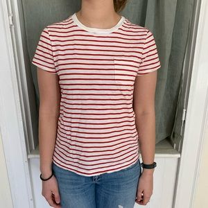 Red and white soft striped shirt